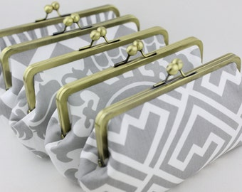 Grey & White Bridal and Bridesmaid's Clutches for Wedding Party Gift / Grey Wedding Clutches - Set of 5