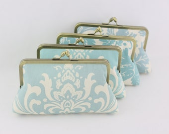 Rustic Wedding Bridesmaid Clutch / Dusty Blue Country Style Bridesmaids Clutches - Set of 4
