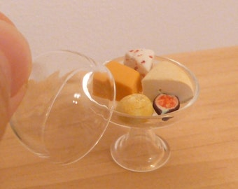 Miniature Dollhouse Cheese and Fig in a Glass Dome