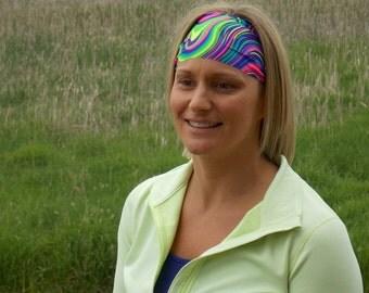 Performance Headband |Workout Headband | Fitness Headband | Yoga Headband | Neon Swirly