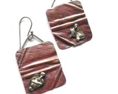 Folded Copper Earrings - Soldered Copper Sterling Dangles - Sterling Folded Earrings - Copper Hammered Earrings