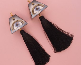 "Tassel Earrings // Eye  Earrings // Geometric Earrings // Statement Earrings // Art Deco Jewelry // The ""Expansions"""