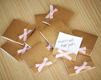 Party Favors for Women Matchbook Notebook.  Handcrafted in 2-3 Business Days.  Mini Note Pad 10 CT.