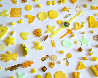 150+ Assorted Yellow Inspiration Kit for Altered Art - Collage - Assemblage - Mixed Media - Crazy Quilt Art - Scrapbook