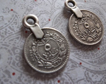 Small Ethnic Tughra Coins - 2 Sided Charms - Oxidized Antiqued Sterling Silver Sterling Plated Pewter - Qty 2