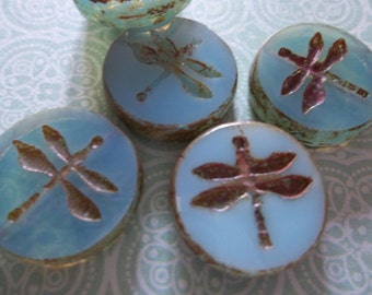 Designer Czech Glass Dragonfly Beads - 17mm Round - Aqua Blue Opaline with Brown Picasso Rims -  Double Sided Table Cut Coin Beads - Qty 4