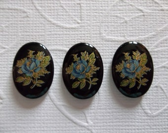 Vintage Decal Picture Stones - Blue Rose on Black Cameo -  18 X 13mm Glass Cabochons - Qty 6