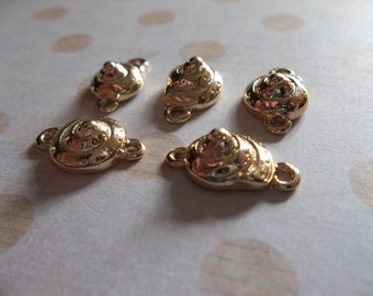 Gold Spiral Shell Connectors - Small 10mm Seashell Charms - Two Loops - Qty 5