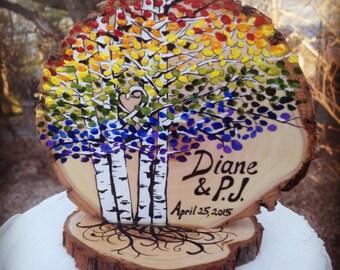 Rainbow Birch Aspen Trees Colorful Wedding Cake Topper #2016JL06