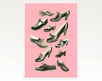 Mid Century Shoe Art, Fashion Print for Her, Girly Bedroom Decor - Shoe Fetish