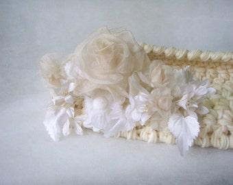 OOAK White Newborn Basket with luxurious decoration Baptism Newborn Cocoon Newborn photo prop White nest for Newborn Blanket Crochet Infant