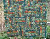 Lap Quilt Wall Hanging Tapestry Baby Crib Patchwork Quilted Fabric Lined Cotton Green Red Yellow Floral 49 Home Decor Cover Blanket