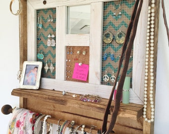 Jewelry Organizer with Mirror, Jewelry Organizer, Dorm Room Jewelry Organizer, Chevron Jewelery Organizer, Rustic, Turquoise Chevron