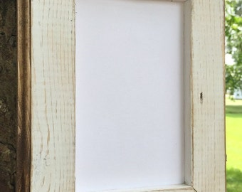 5x7 Picture Frame,  White Rustic Weathered Style With Routed Edges