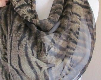 "Scarf SALE Beautiful Brown Black Leopard Sheer Silky Poly Scarf Wrap Shawl - 20"" x 70"" Long"