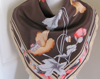 "Beautiful Brown Floral Ladies Silk Scarf  - 28"" Inch 66cm Square"