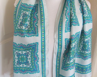Lovely Pale Green Paisley ECHO Silk Scarf - 15 x 48 Long