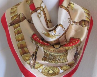 """Lovely Red Gold Shiny Acetate Scarf - 26"""" x 26"""" Square"""