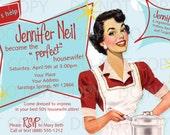 Printable DIY Retro Housewife Theme Bridal Shower Party Invitation - brunette girl