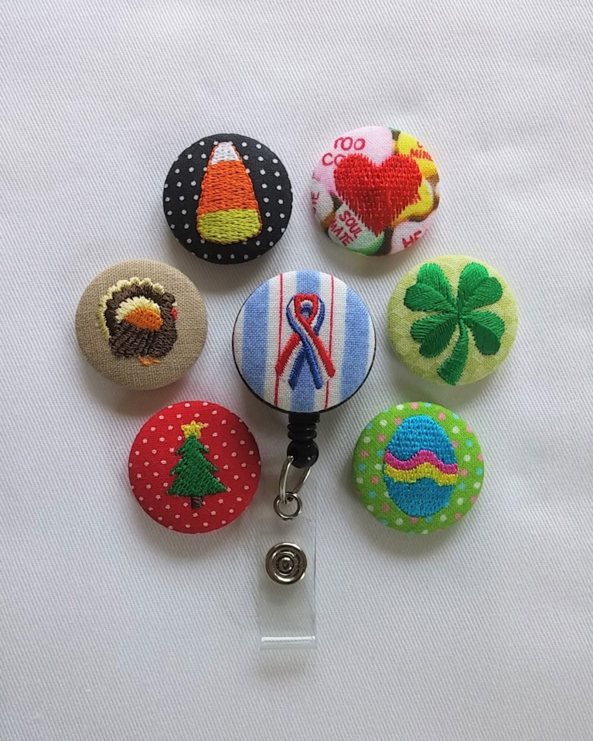 Interchangeable holiday badge reel name badge holder by for Christmas name badges