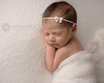 White Baby Bow Headband, Baby Girl Headband, Newborn Headband, Newborn Photo Prop, Baby Girl Prop, Baby Headband