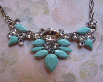 SALE Glass Turquoise Necklace WAS 25.00