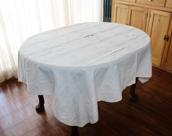 Vintage Linen Damask Tablecloth  60 x 66