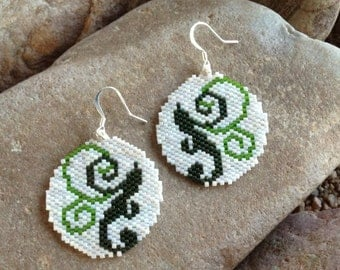 Round Green Scroll Southwest Peyote Beaded Earrings