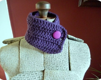 The Purple Passion Cowl. Handmade Aubergine Eggplant Dark Purple crochet Neck Cowl OOAK with fuchsia pink tapestry vintage repurposed button