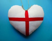 HEART Ornament * Heart * WHITE LINEN * Wedding * Country Cottage Heart * Red and White * Linen * Dream * Cross