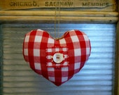 Little Heart Pillow * Red and White GINGHAM HEART Ornament * Heart * Country Cottage Heart * Red and White * Gingham * French Cottage