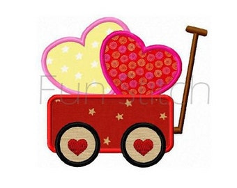 Valentine sweet heart wagon applique machine embroidery design