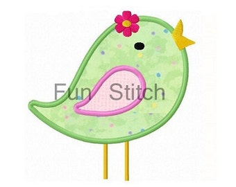 sweet girly bird applique machine emboridery design