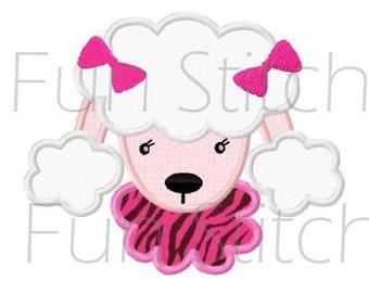 poodle applique machine embroidery design