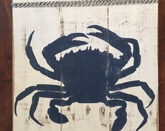 Blue Crab Pallet Sign with twine detail