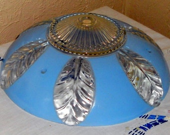 Retro Vintage Frosted Ceiling Globe Sky Blue Banana Leaf Design