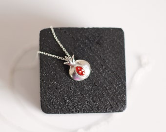 pomegranate silver necklace -free shipping