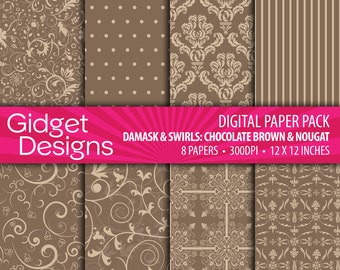 Brown and Nougat Digital Paper Pack Damask Patterns Chocolate Brown Scrapbook Paper Printable Instant Download