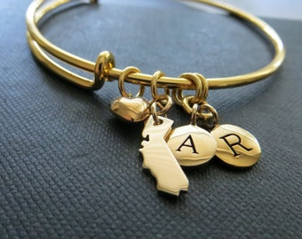 California state charm bangle, initial bracelet, personalized jewelry, CA love, state charm jewelry, personalized gift, expandable bangle