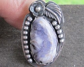 Native American Inspired Lepidolite Sterling Silver Ring - Size 8-1/4