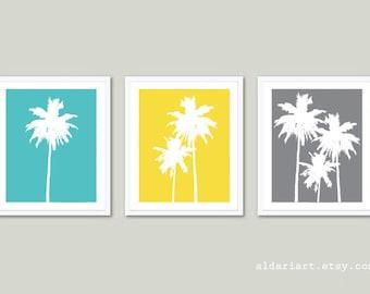 Tropical Palm Trees Art Prints Trio - Blue Yellow Grey - Tropical Beach House Wall Art - Summer Decor