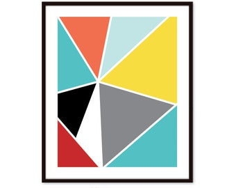 Geometric Print - Triangles Print - Mid Century Home Decor - Modern Geometric Poster - Modern Triangles Art - Wall Art - Aldari Art