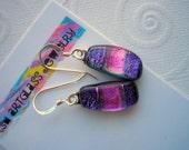 Earrings Fuschia Purple Fused Dichroic Glass Purple Earrings Dichroic Glass Jewellry Iridescent Glass Sparkly Jewelry Hippie Boho Silver