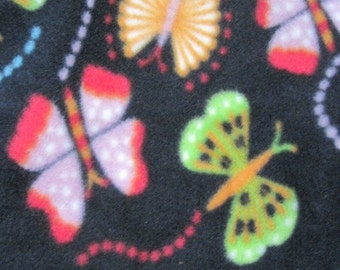 Butterflies on Black with Aqua Fleece Blanket - Ready to Ship Now