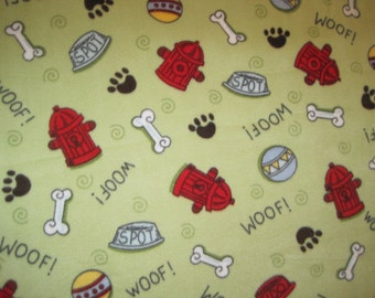 Hydrants, Bones, Paw Print, Balls on Green with Blue Handmade Double Layer Blanket - Ready to Ship Now