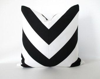 Pillow Cover Mitered Chevron Black White Stripes Cotton
