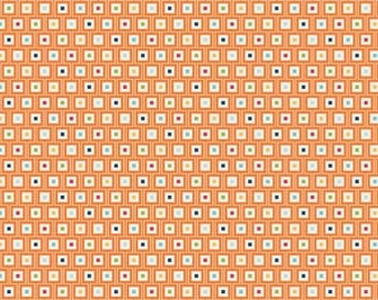 Orange Red Blue and Green Geometric Square Fabric, Play Ball by Lori Whitlock for Riley Blake Design, Geo Print in Orange, 1 Yard