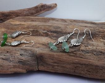 Sea Glass Sterling Earrings - Sea Glass - Charm Earrings - Lake Erie Beach Glass Jewelry