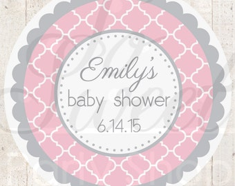Baby Shower Favor Sticker Labels - Pink and Gray Baby Shower - Personalized Baby Shower Favors - Girl Baby Shower Decorations - Set of 24