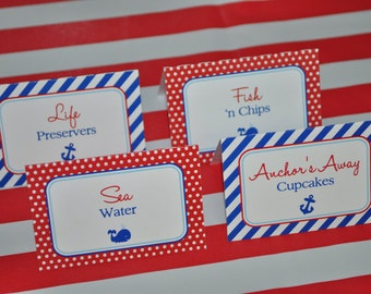 Nautical Food Label Tent Cards - Buffet Labels, Placecards - Nautical Birthday or Baby Shower - Whales and Anchors - Set of 12